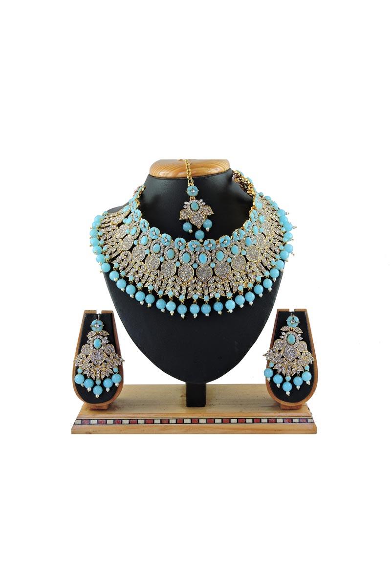 Bridal Wear Classic Alloy Metal Light Blue Color Necklace Set