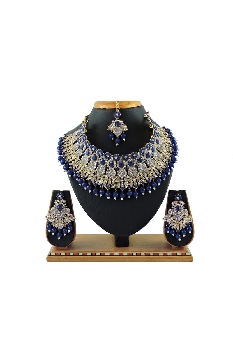 Blue Color Alloy Metal Bridal Wear Classic Necklace Set