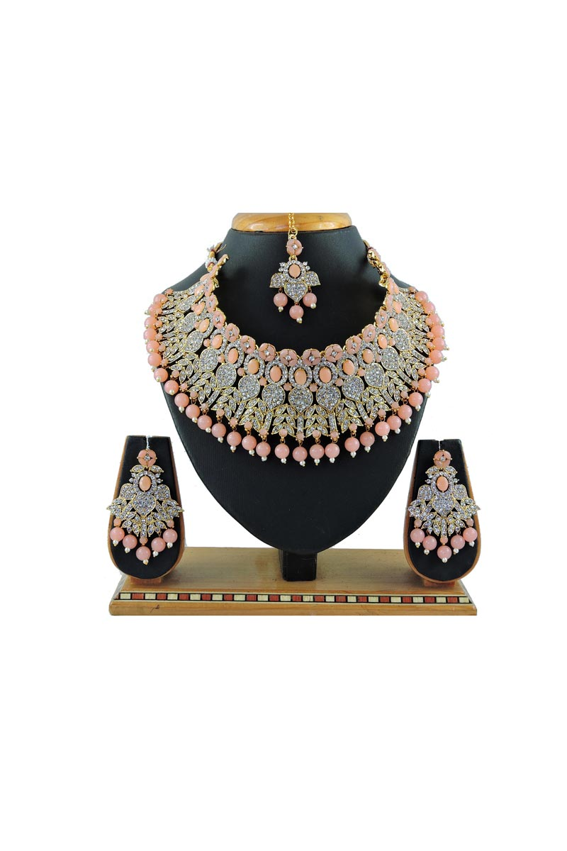 Alloy Metal Bridal Wear Classic Peach Color Necklace Set