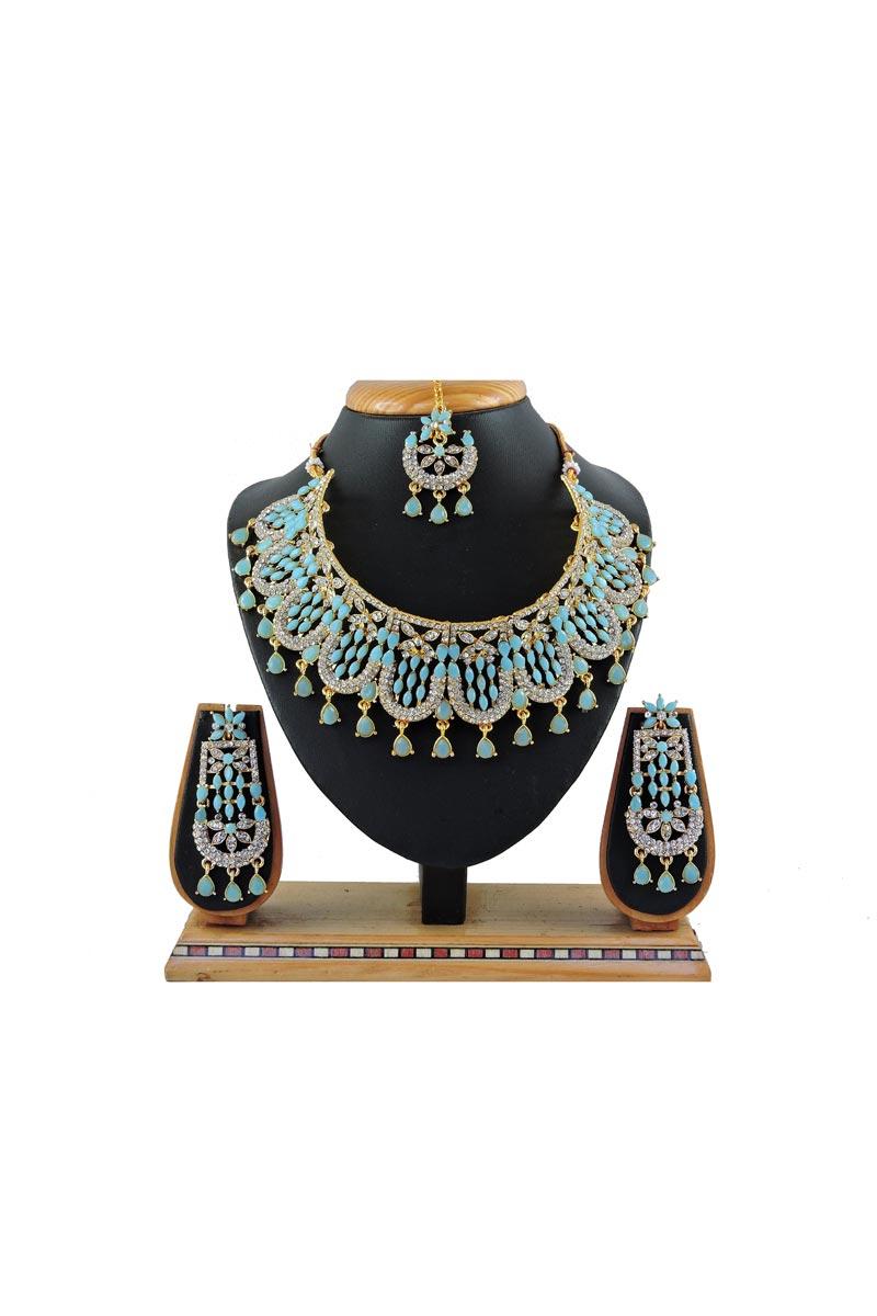 Classic Alloy Metal Bridal Wear Light Blue Color Necklace Set