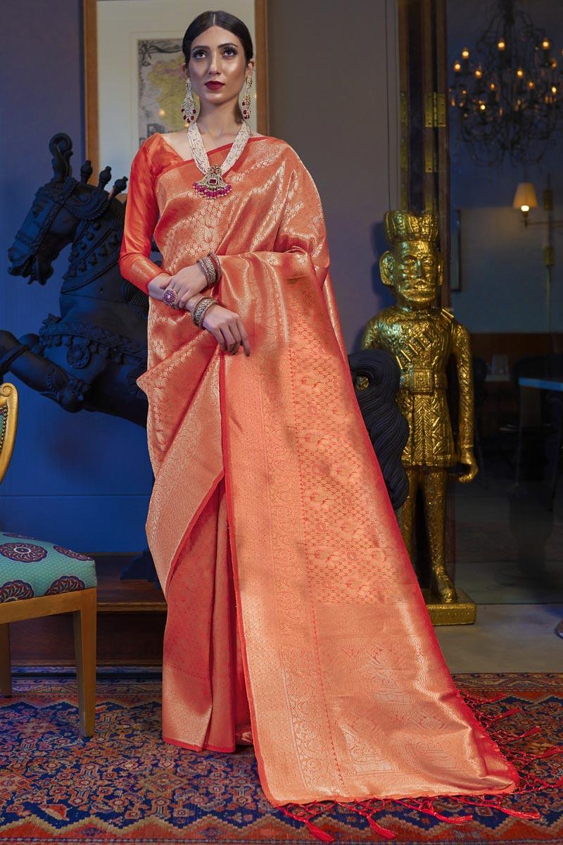 Art Silk Fabric Sangeet Wear Orange Color Weaving Work Saree