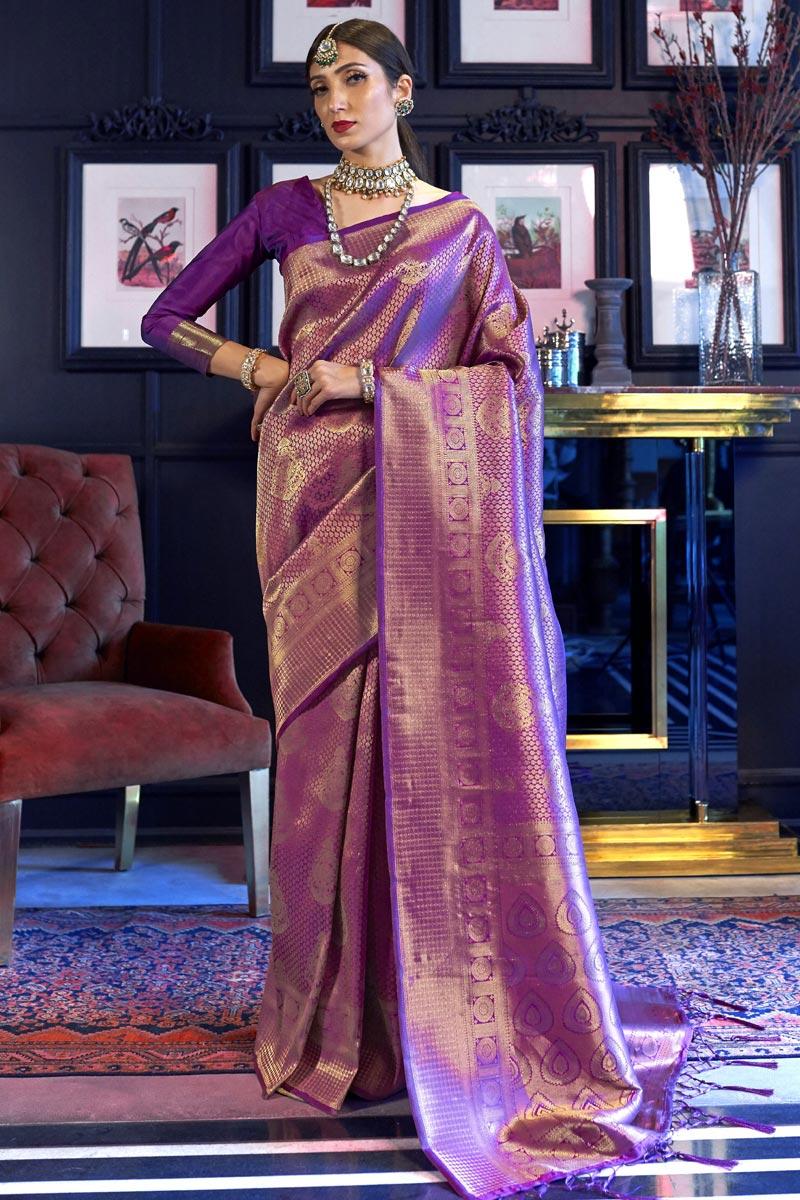 Purple Color Function Wear Art Silk Fabric Fancy Weaving Work Saree