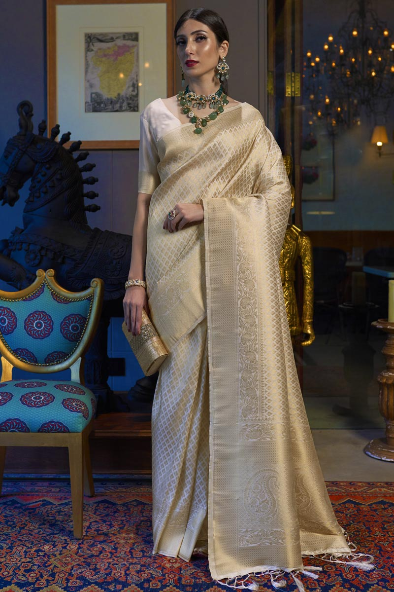 Art Silk Fabric Wedding Wear Off White Color Weaving Work Saree