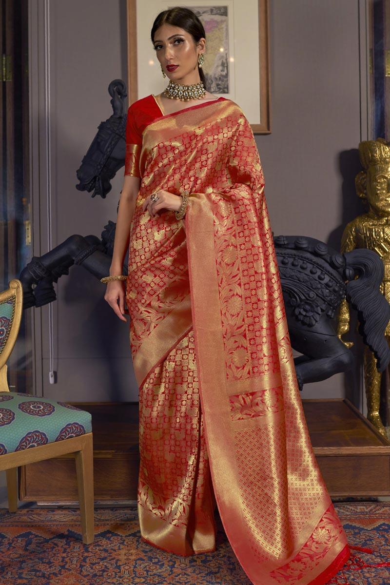 Wedding Wear Red Color Art Silk Fabric Weaving Work Saree