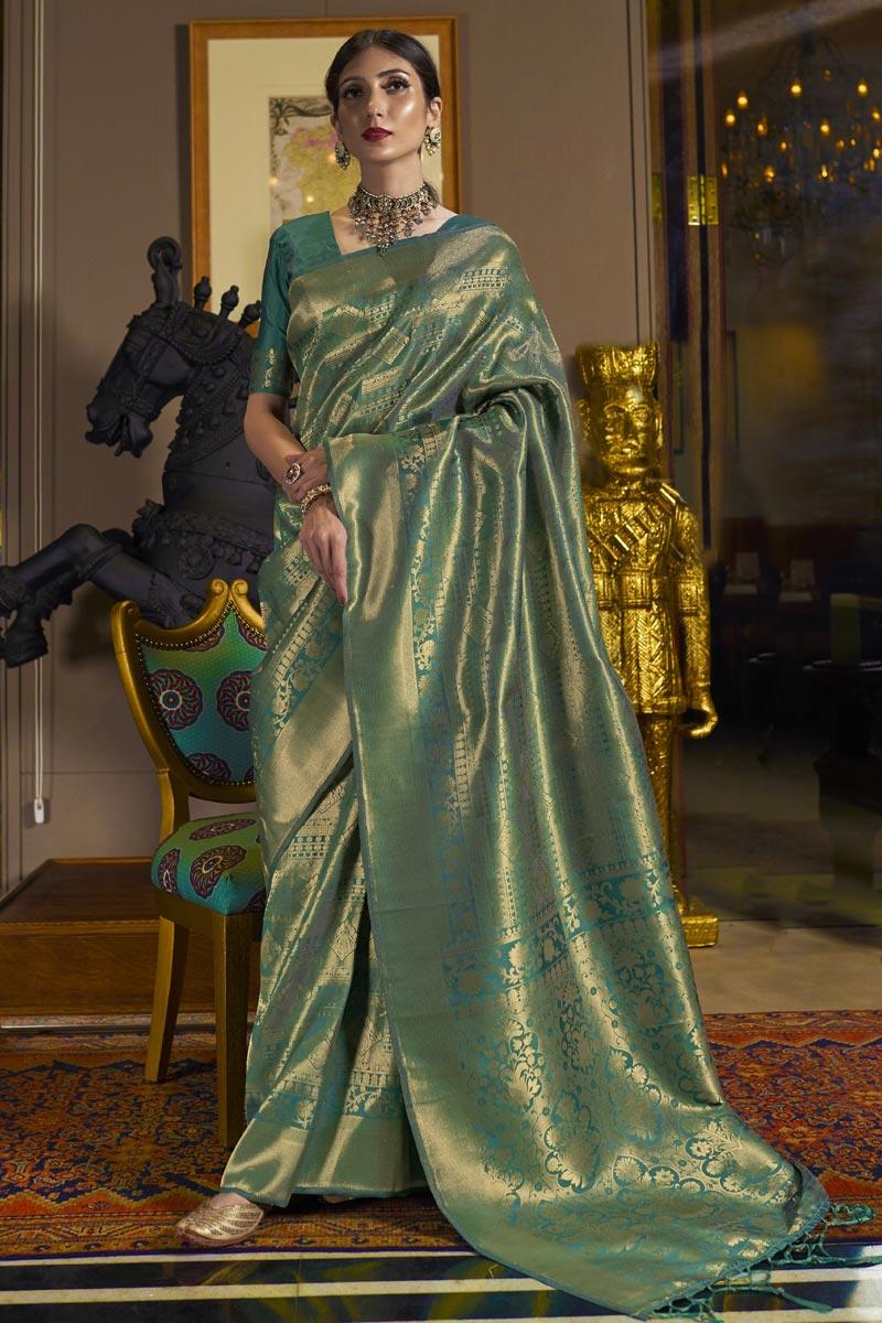 Reception Wear Art Silk Fabric Weaving Work Saree In Sea Green Color