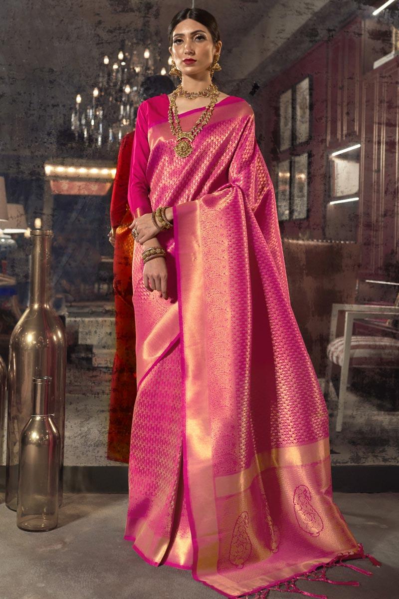 Rani Color Reception Wear Art Silk Fabric Weaving Work Saree