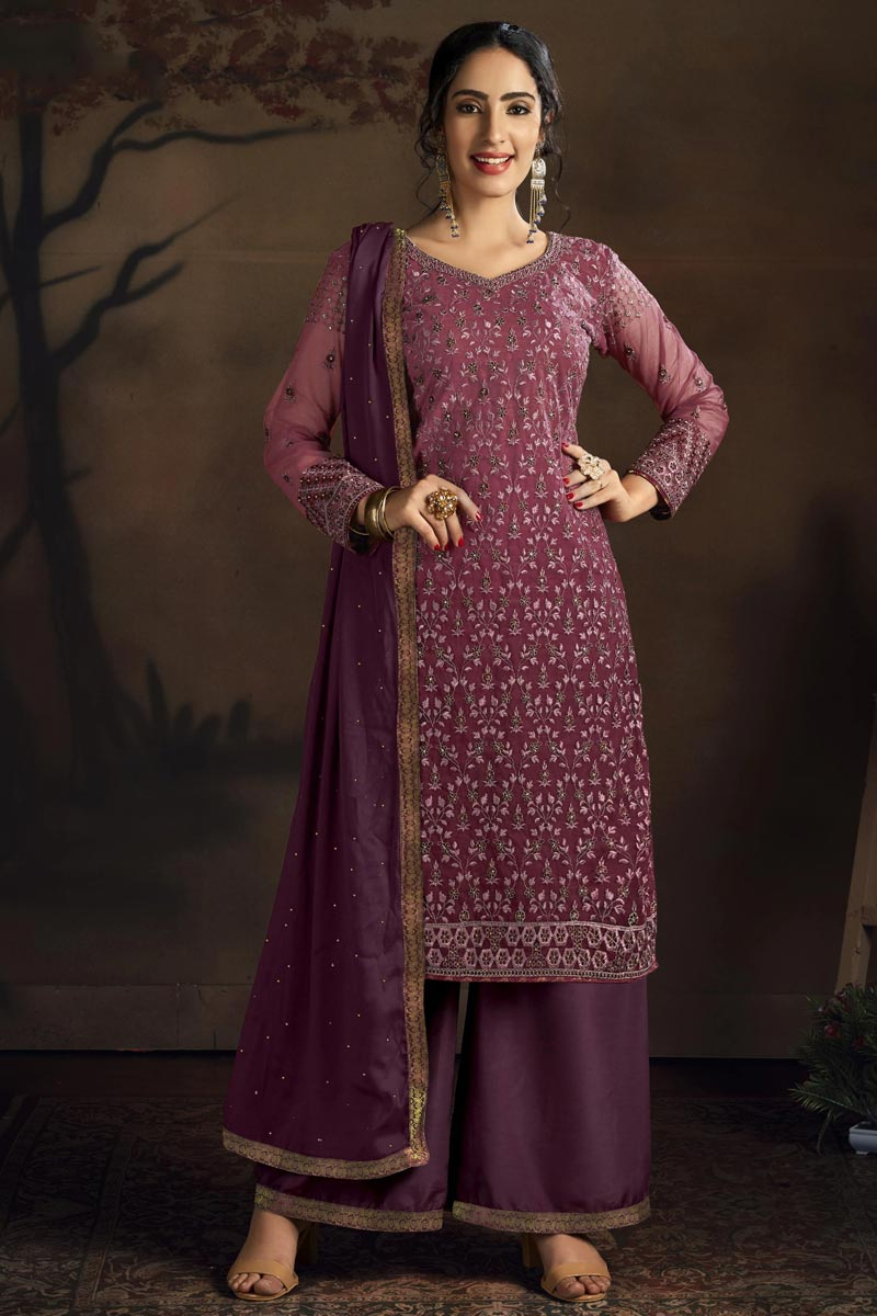 Net Fabric Party Style Chic Embroidered Palazzo Dress In Wine Color