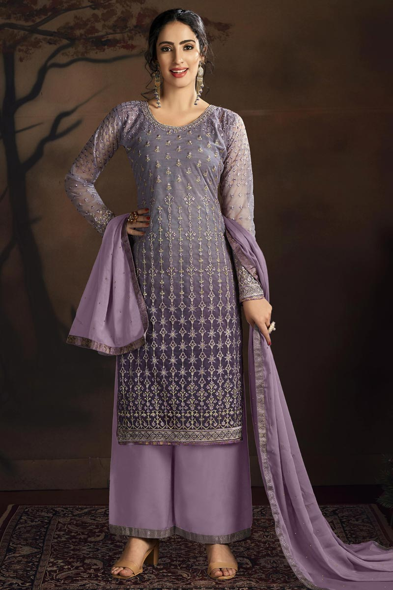 Chic Party Style Net Fabric Purple Color Embroidered Palazzo Suit