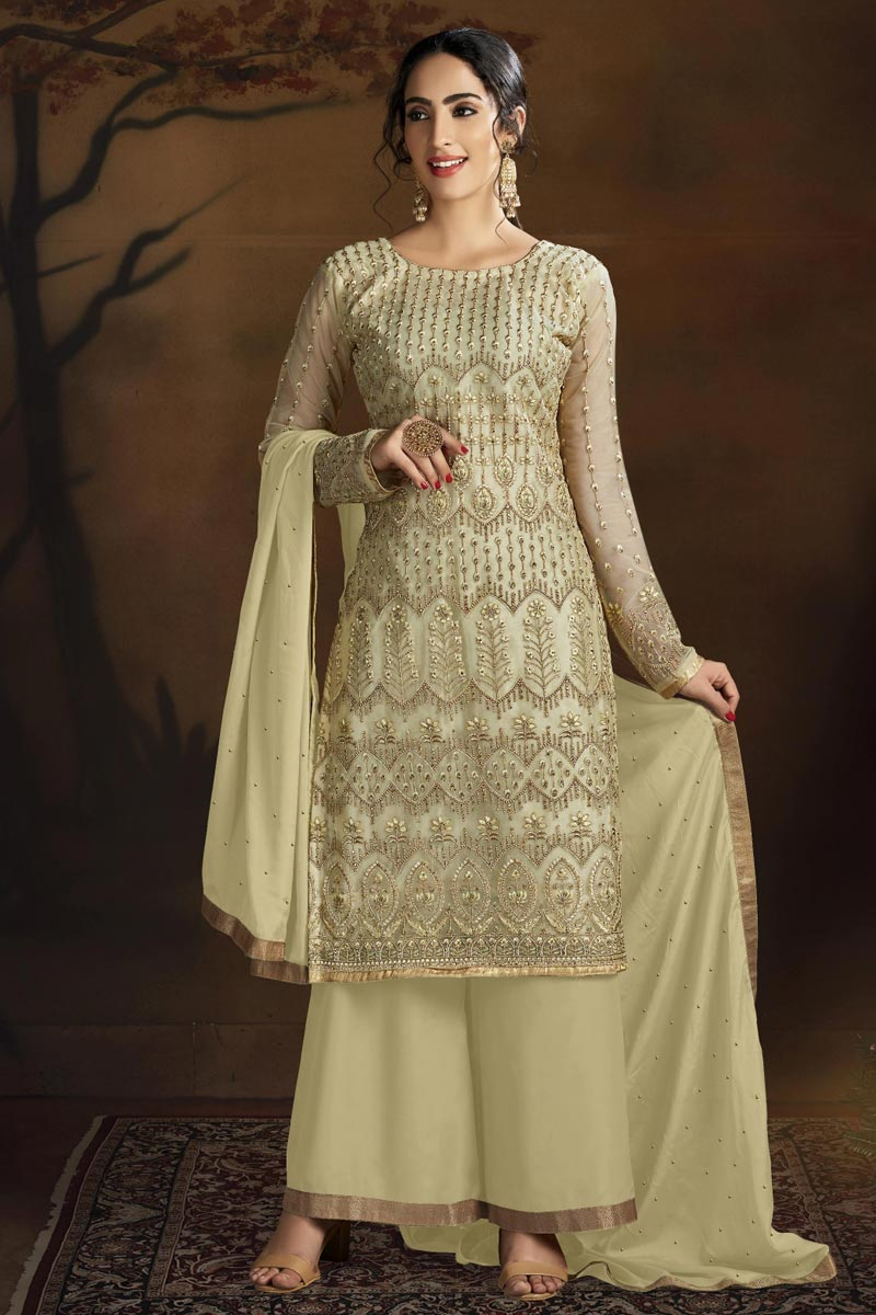 Chic Beige Color Party Style Embroidered Net Fabric Palazzo Suit
