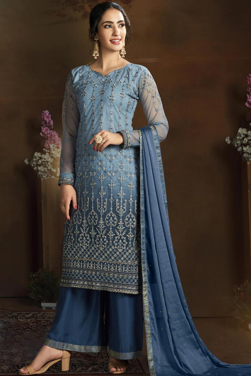 Blue Color Party Style Chic Embroidered Net Fabric Palazzo Dress