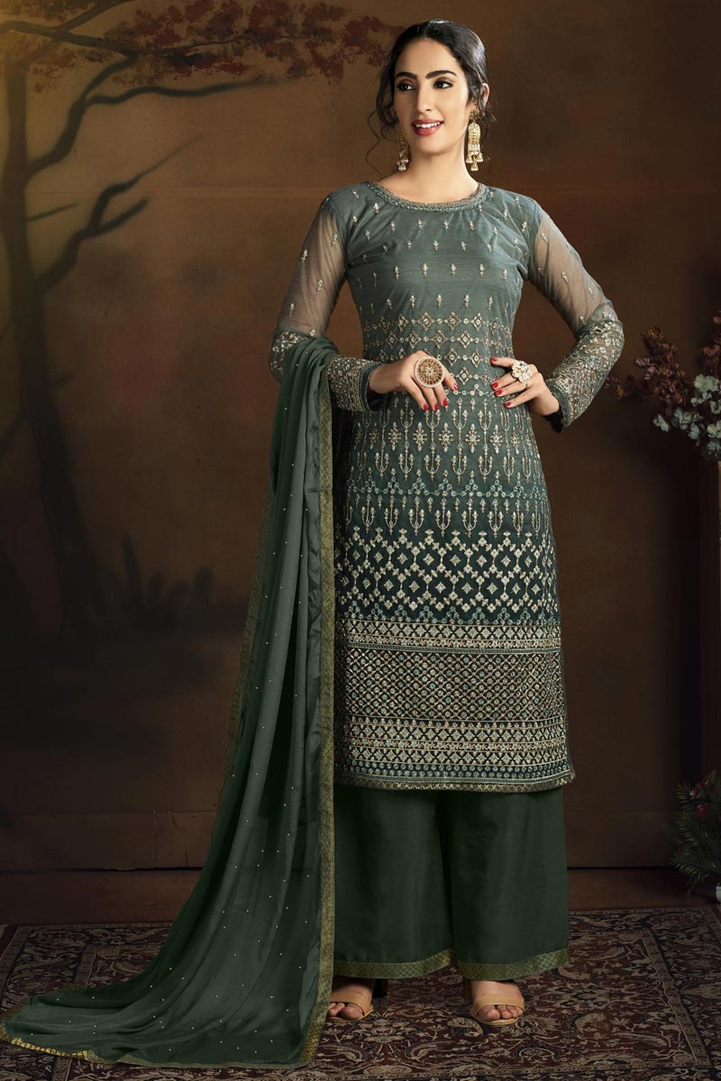 Chic Net Fabric Party Style Dark Green Color Embroidered Palazzo Suit