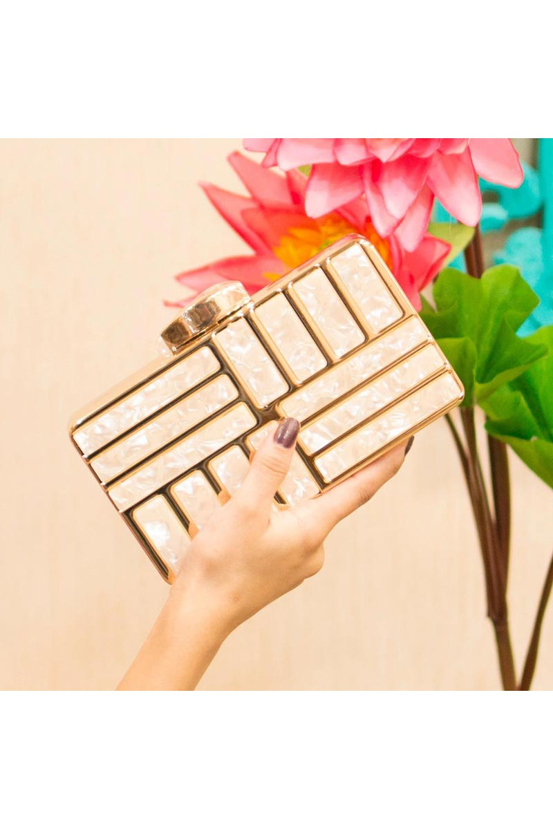 Beige Trendy Party Style Clutch Bag For Women