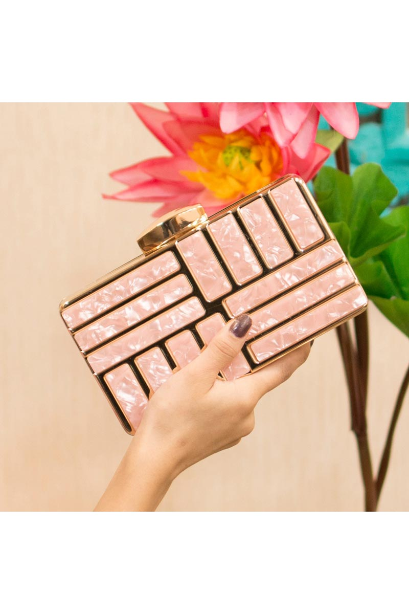 Trendy Party Style Clutch Bag For Women In Pink
