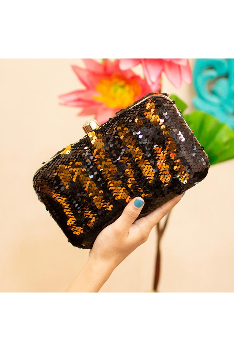 Elegant Party Style Brown Clutch Bag For Women
