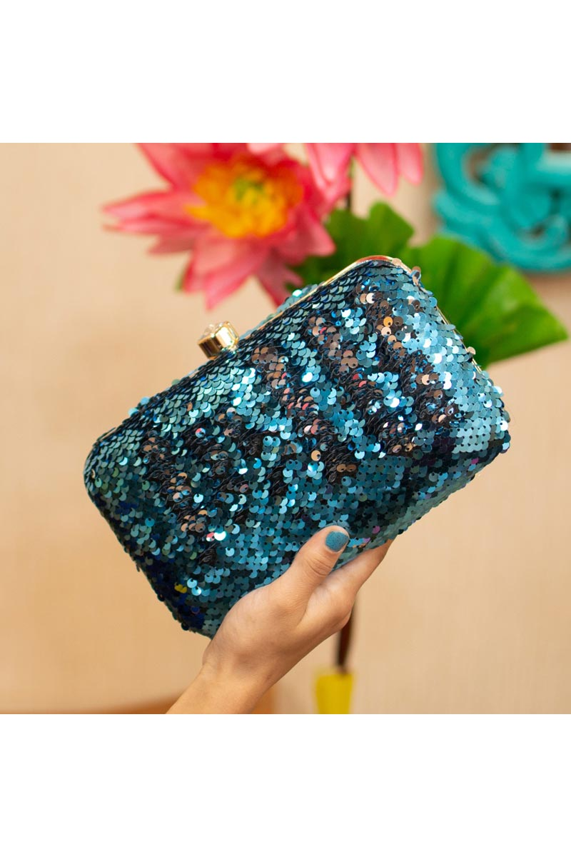 Cyan Party Style Trendy Clutch Bag For Women