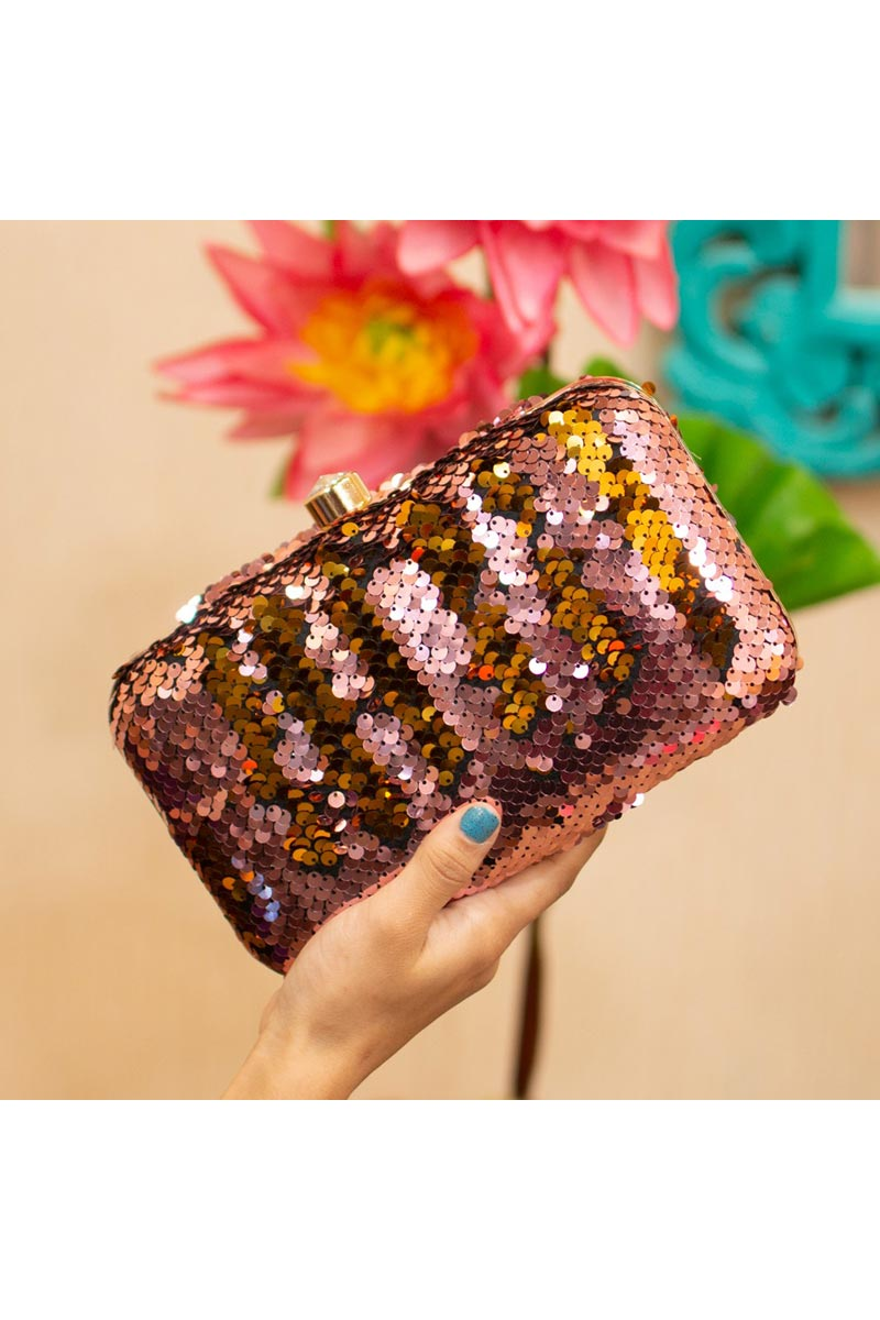 Womens Trendy Party Style Clutch Bag In Peach