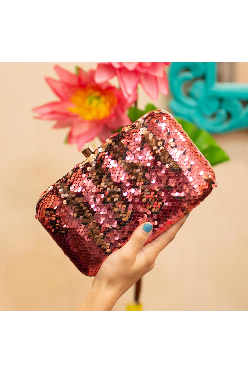 Pink Trendy Party Style Clutch Bag For Women