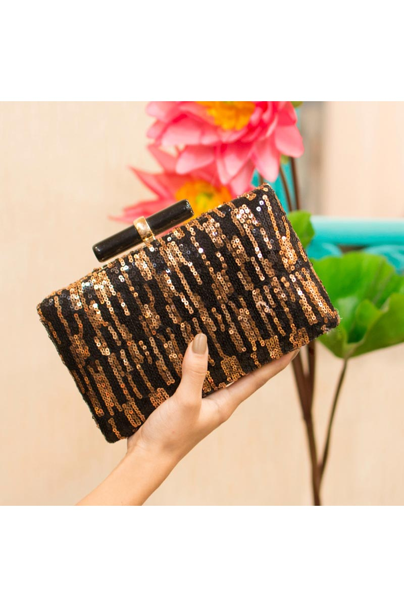 Trendy Party Style Clutch Bag For Women In Black Color