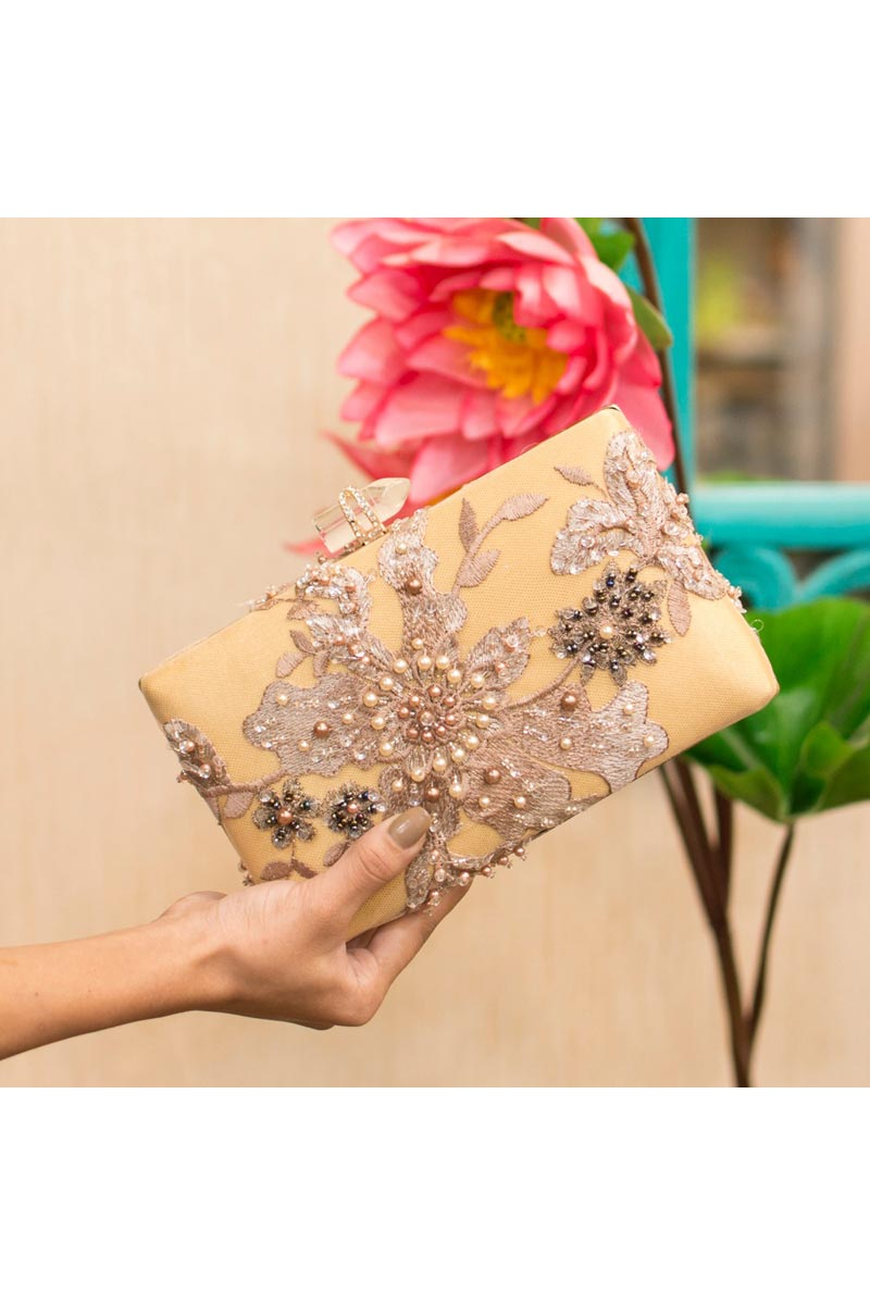 Trendy Party Style Beige Clutch Bag For Women