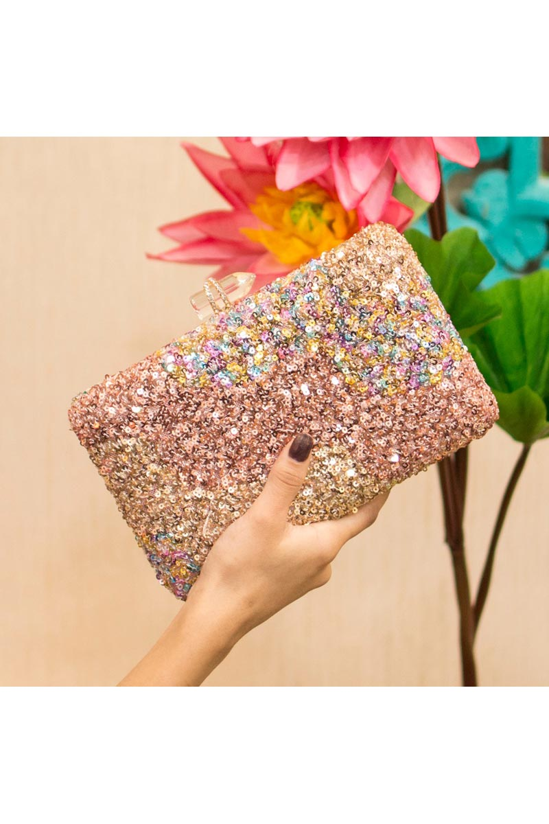 Beige Party Style Trendy Clutch Bag For Women