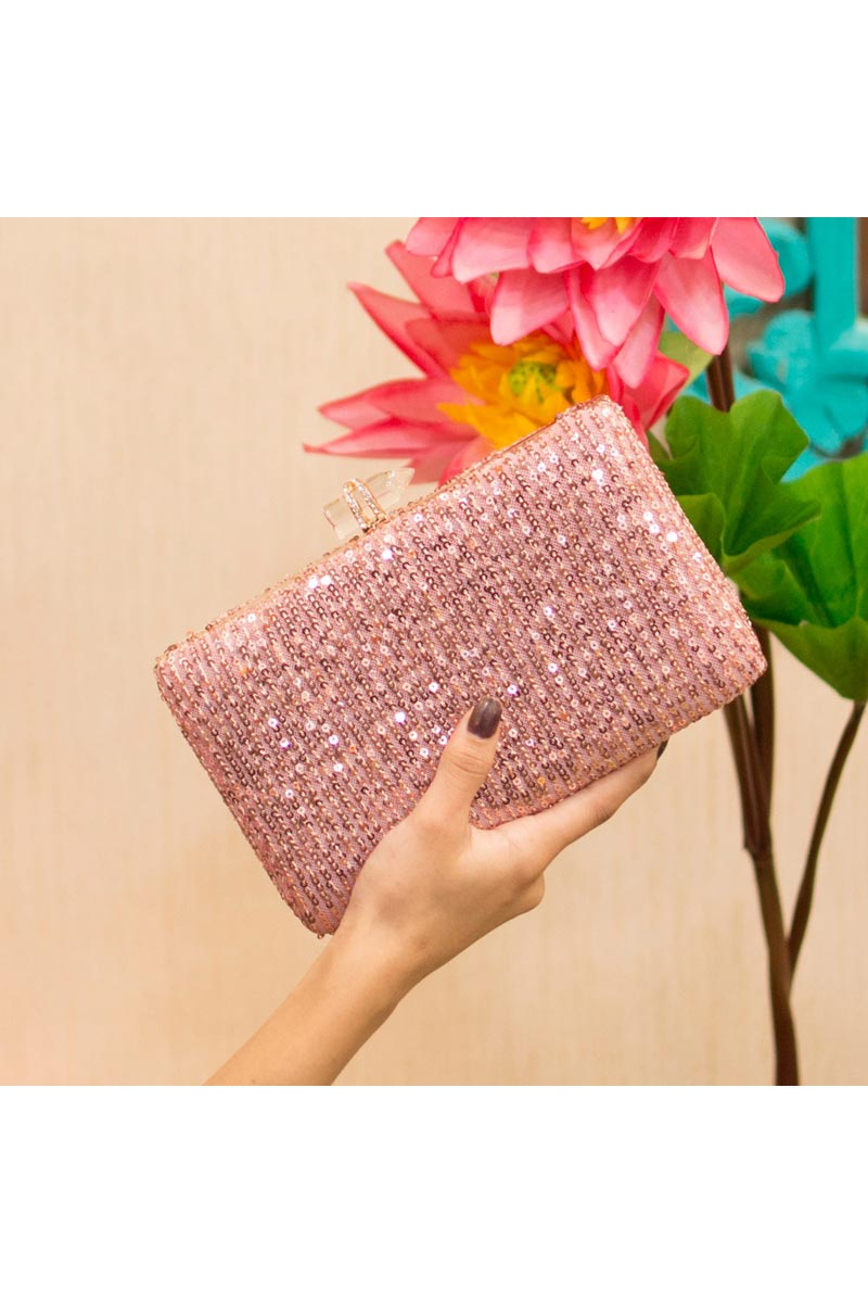 Womens Trendy Party Style Clutch Bag In Pink Color