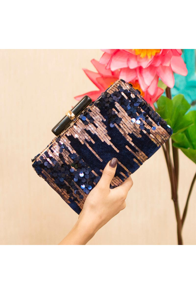 Navy Blue Trendy Party Style Clutch Bag For Women