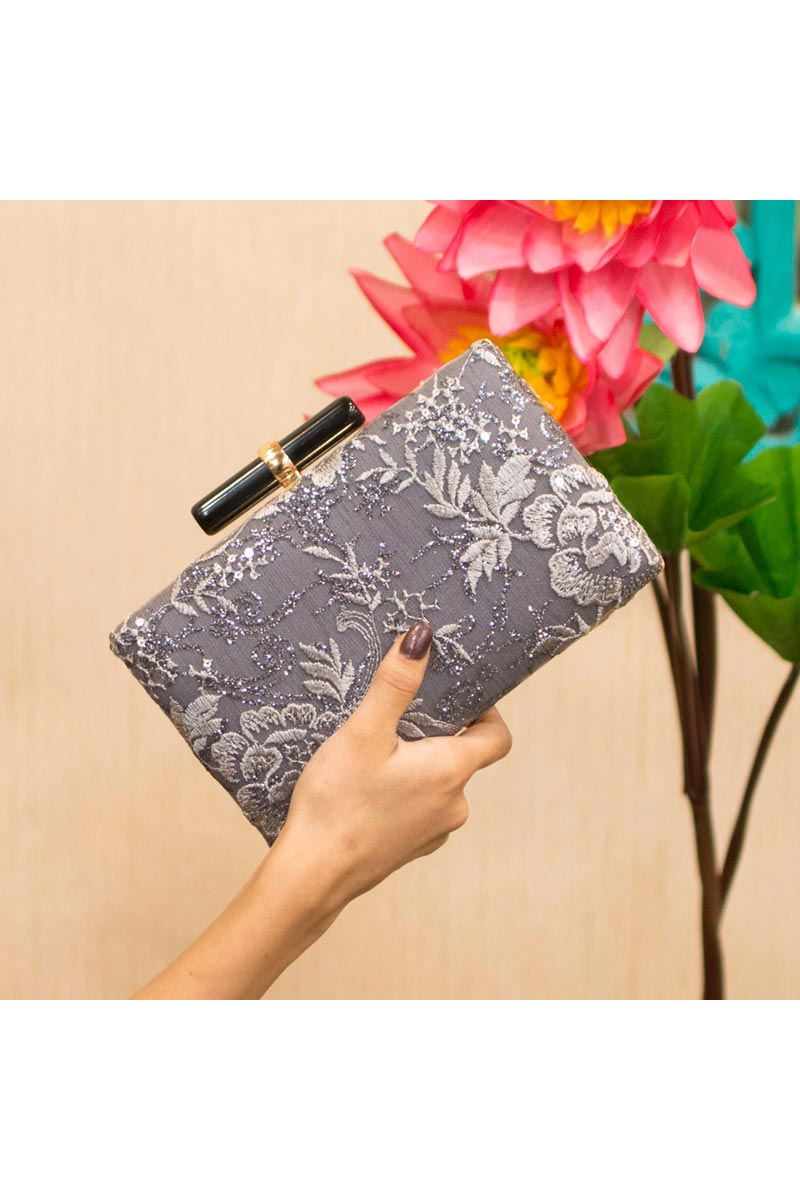 Trendy Party Style Clutch Bag For Women In Grey
