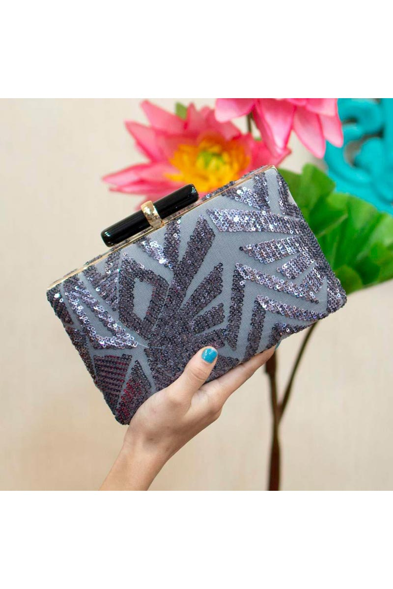 Trendy Party Style Grey Clutch Bag For Women