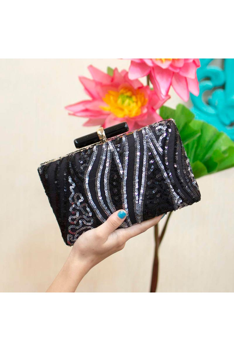 Black Party Style Trendy Clutch Bag For Women