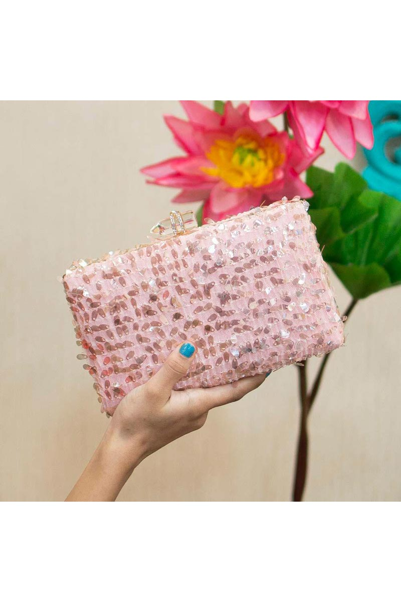 Womens Trendy Party Style Clutch Bag In Pink