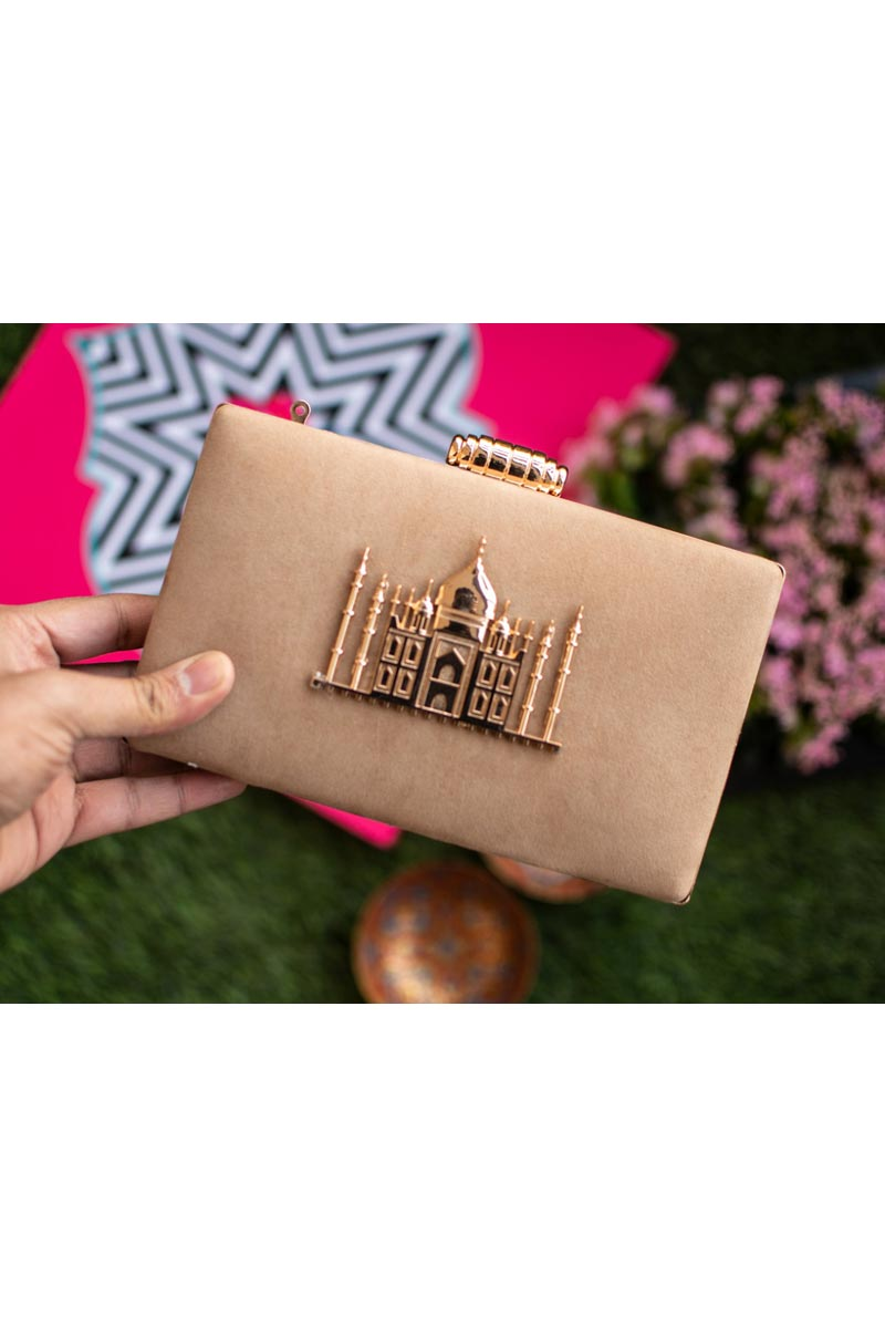 Trendy Party Style Cream Clutch Bag For Women