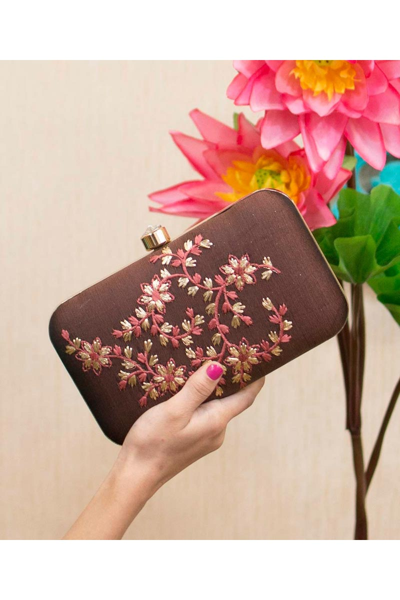 Brown Color Designer Party Style Clutch Bag For Women