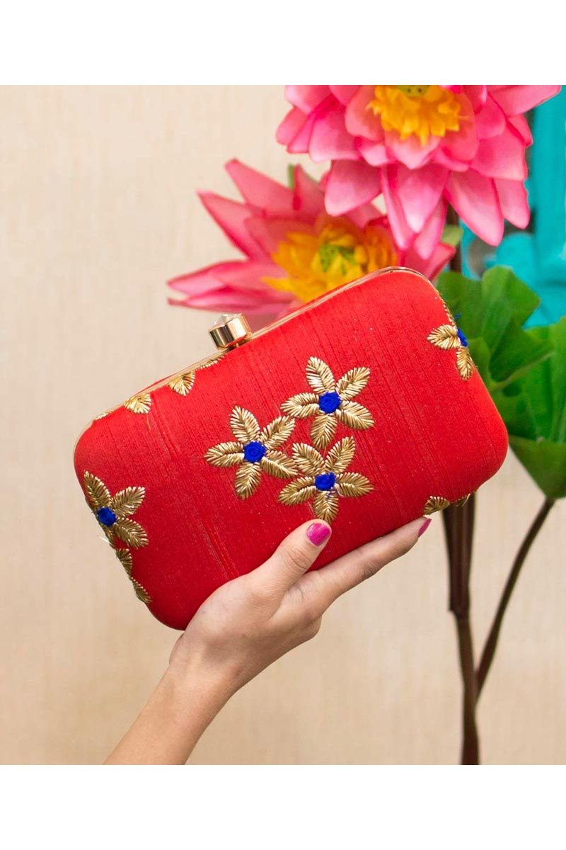 Designer Party Style Clutch Bag For Women In Red Color