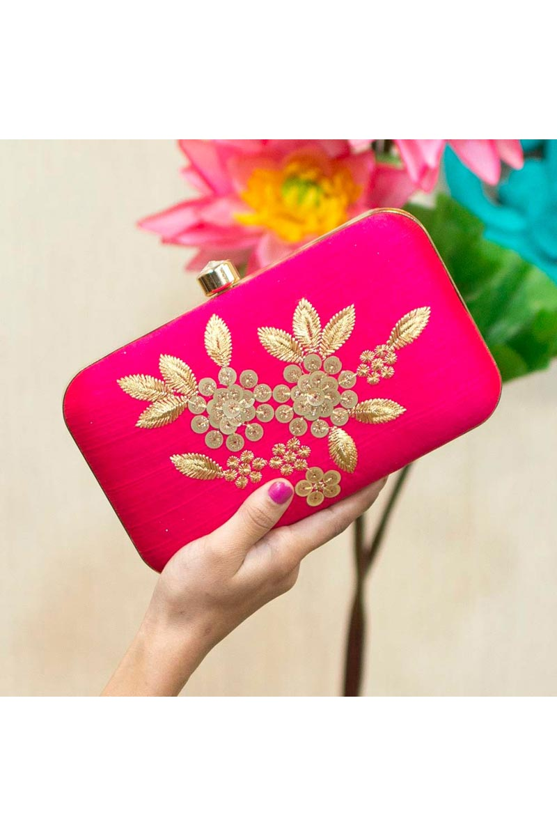 Designer Party Style Rani Color Clutch Bag For Women