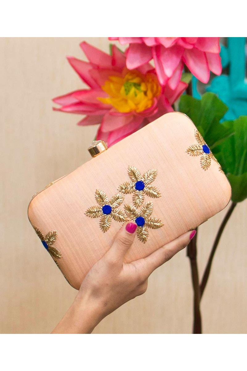 Peach Color Party Style Designer Clutch Bag For Women