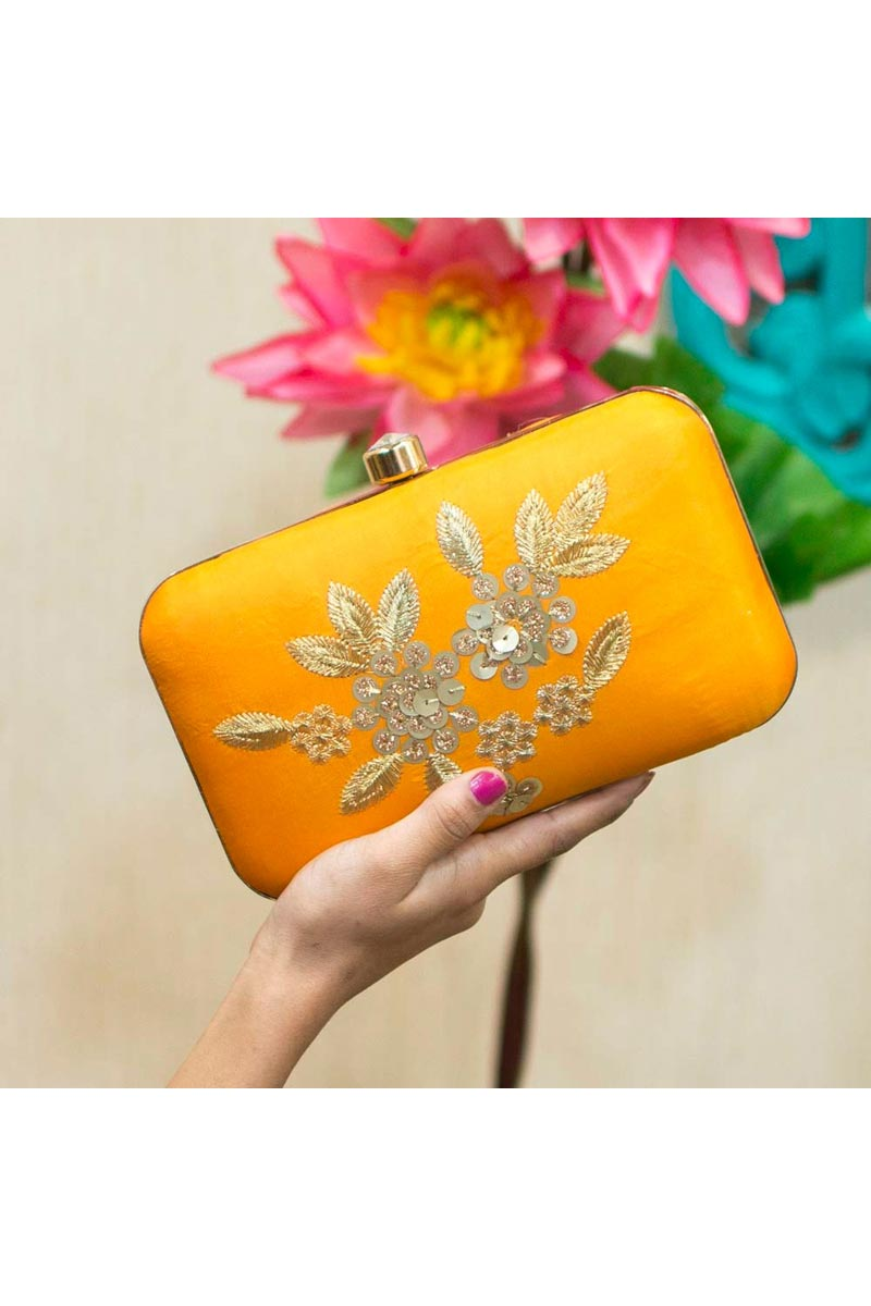 Womens Designer Party Style Clutch Bag In Yellow Color