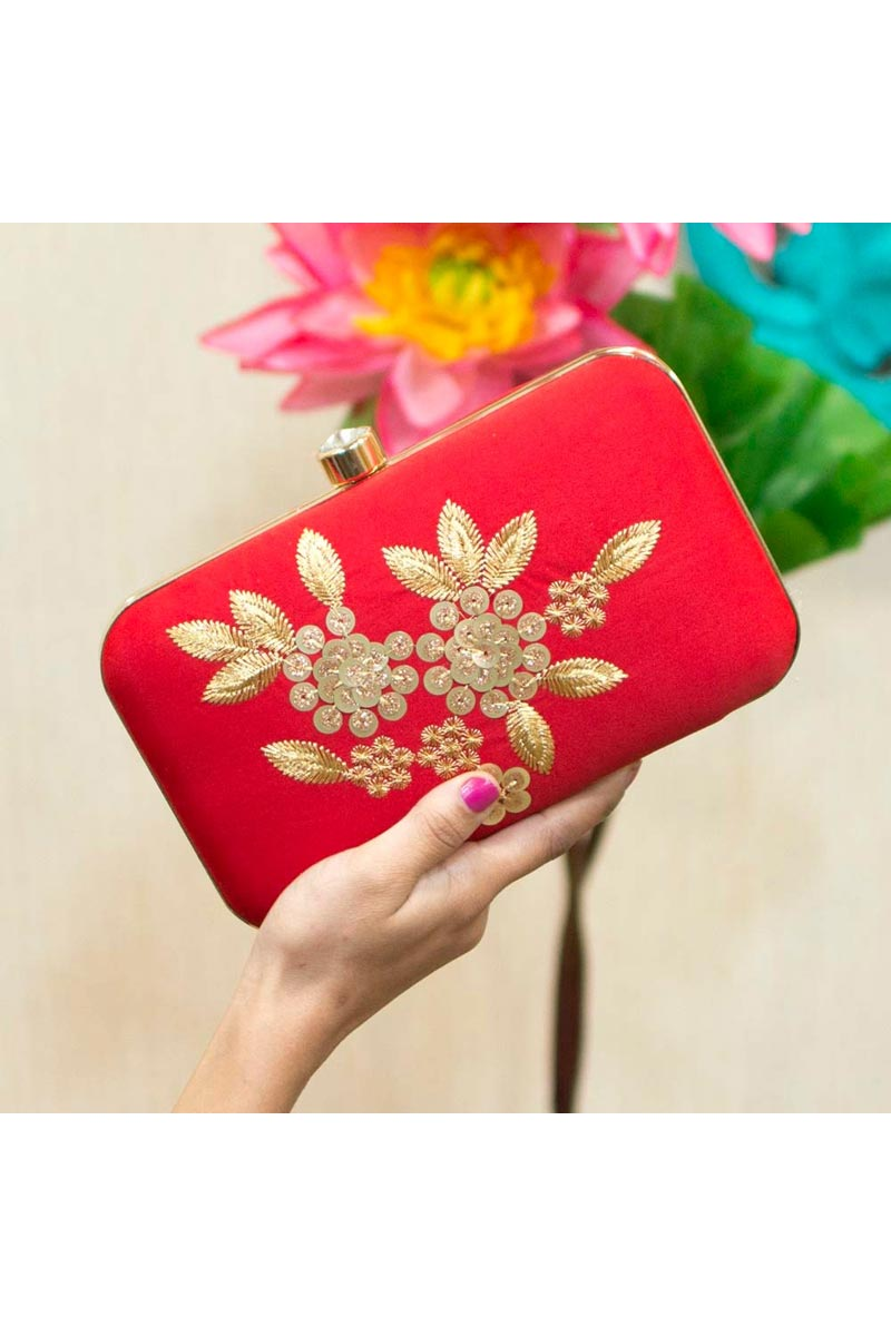 Red Color Designer Party Style Clutch Bag For Women