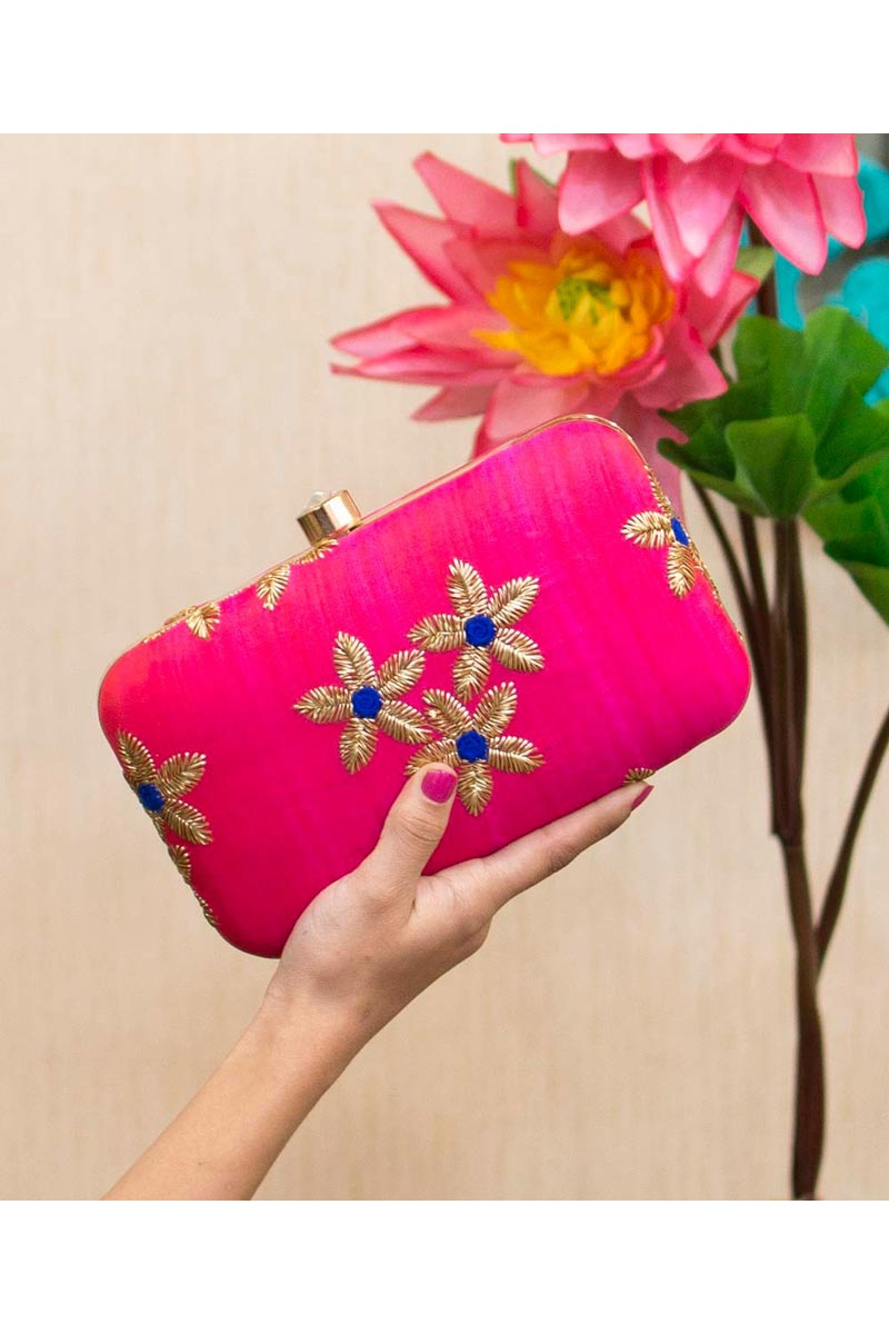Art Silk Designer Party Style Clutch Bag For Women In Rani Color