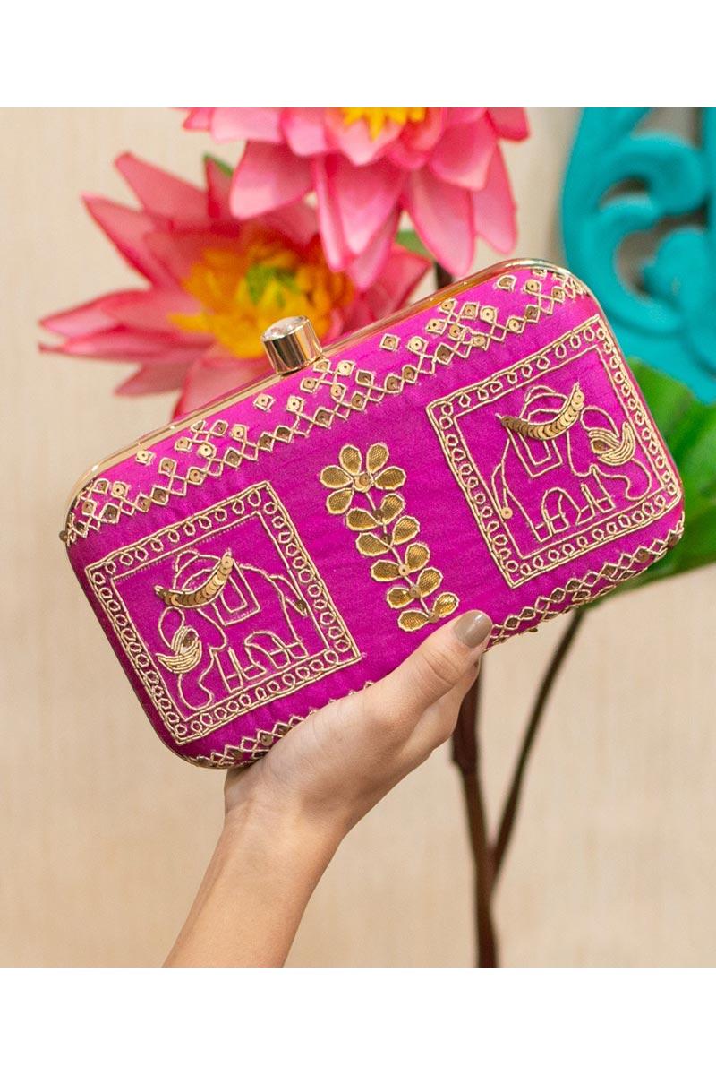 Magenta Color Party Style Designer Clutch Bag For Women