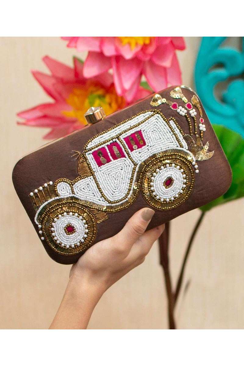 Womens Designer Party Style Clutch Bag In Brown Color