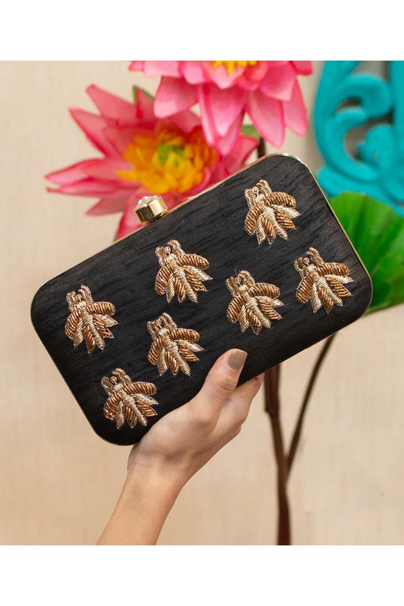Art Silk Black Color Designer Party Style Clutch Bag For Women