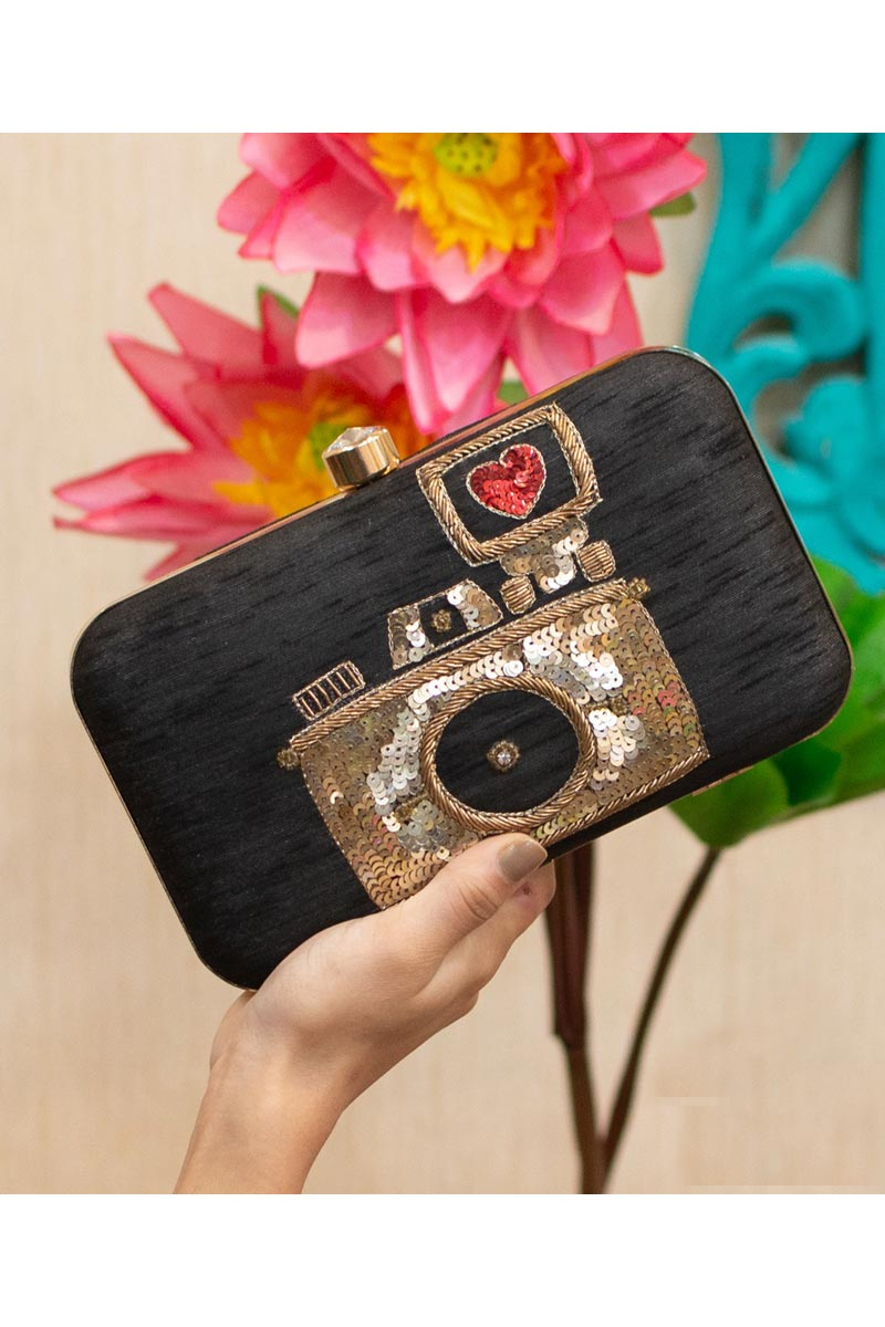 Designer Party Style Clutch Bag For Women In Black Color