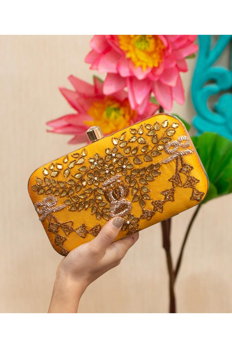 Designer Party Style Yellow Color Clutch Bag For Women