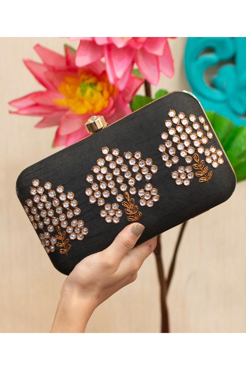 Womens Designer Party Style Art Silk Clutch Bag In Black Color