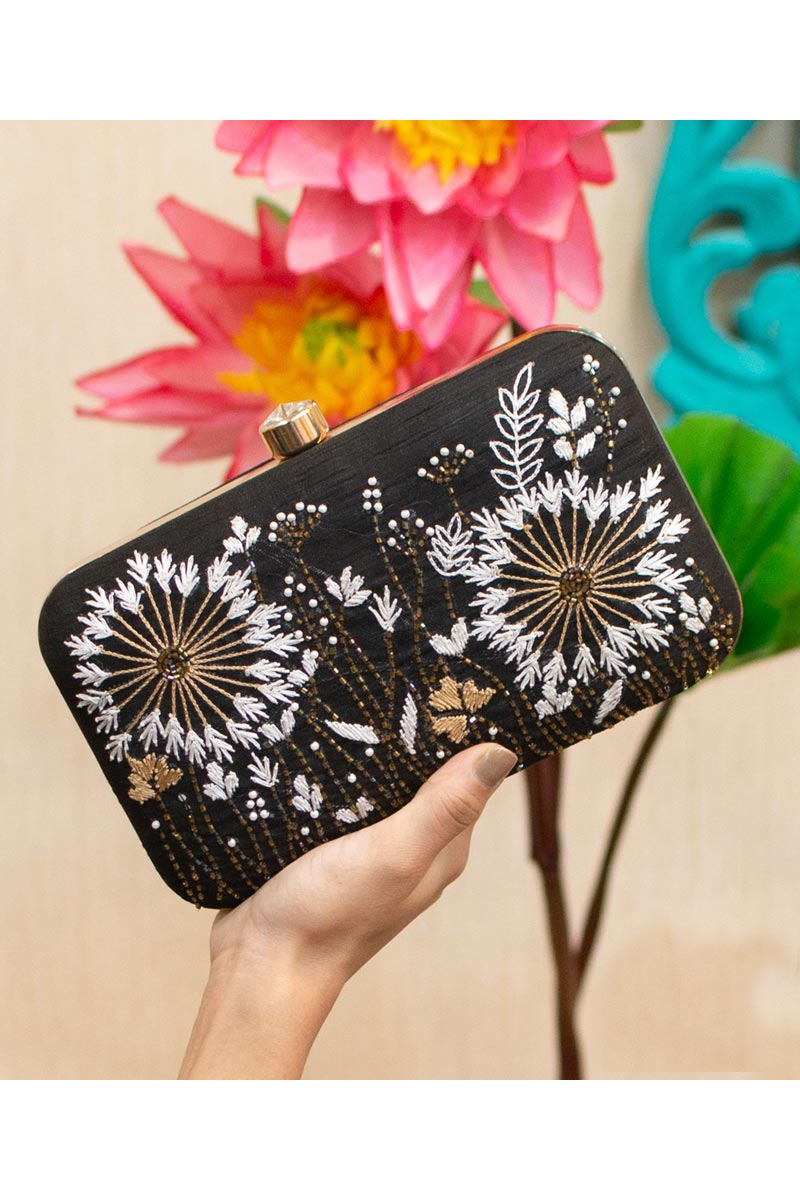 Black Color Designer Party Style Clutch Bag For Women