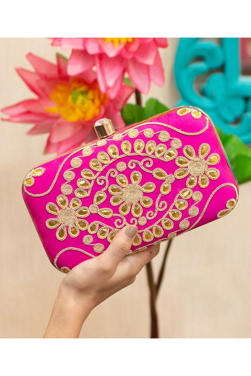 Designer Party Style Clutch Bag For Women In Rani Color