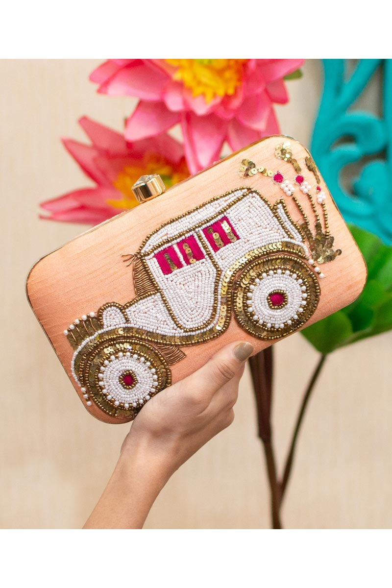 Designer Party Style Peach Color Clutch Bag For Women