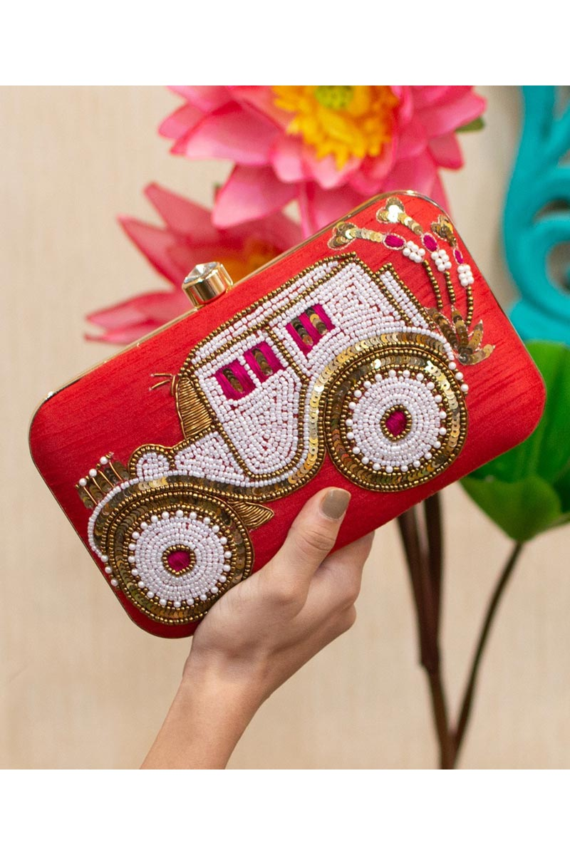 Red Color Party Style Designer Clutch Bag For Women