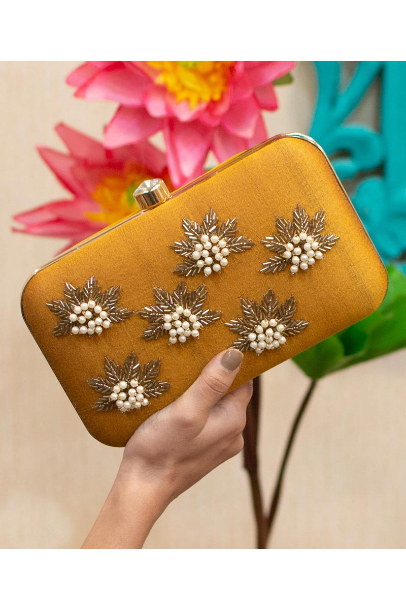 Womens Designer Party Style Clutch Bag In Mustard Color