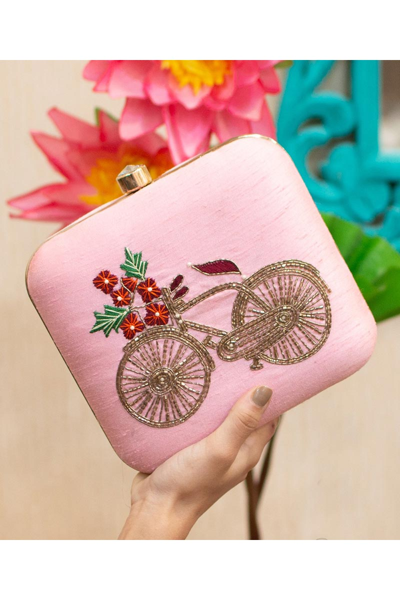 Pink Color Art Silk Alluring Party Style Clutch Bag For Women